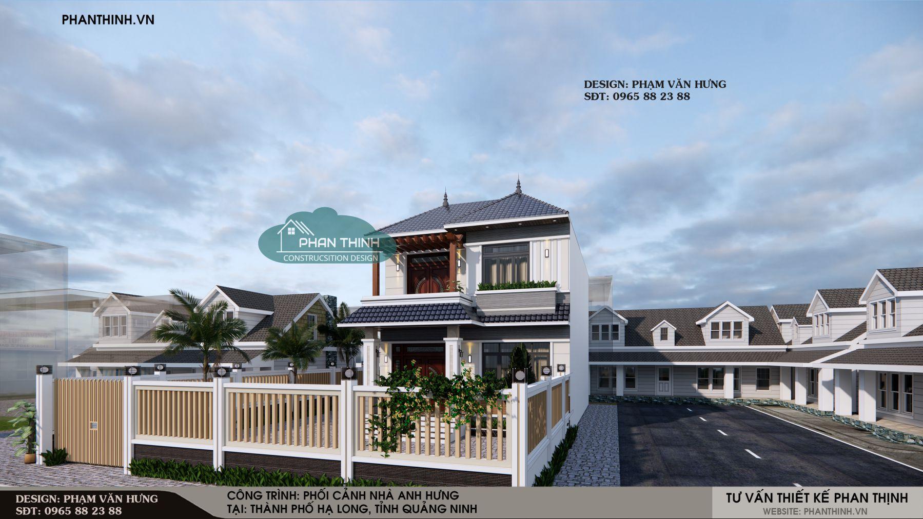 Hình ảnh mặt tiền biệt thự nhà vườn mái thái đẹp tại Hạ Long Quảng Ninh