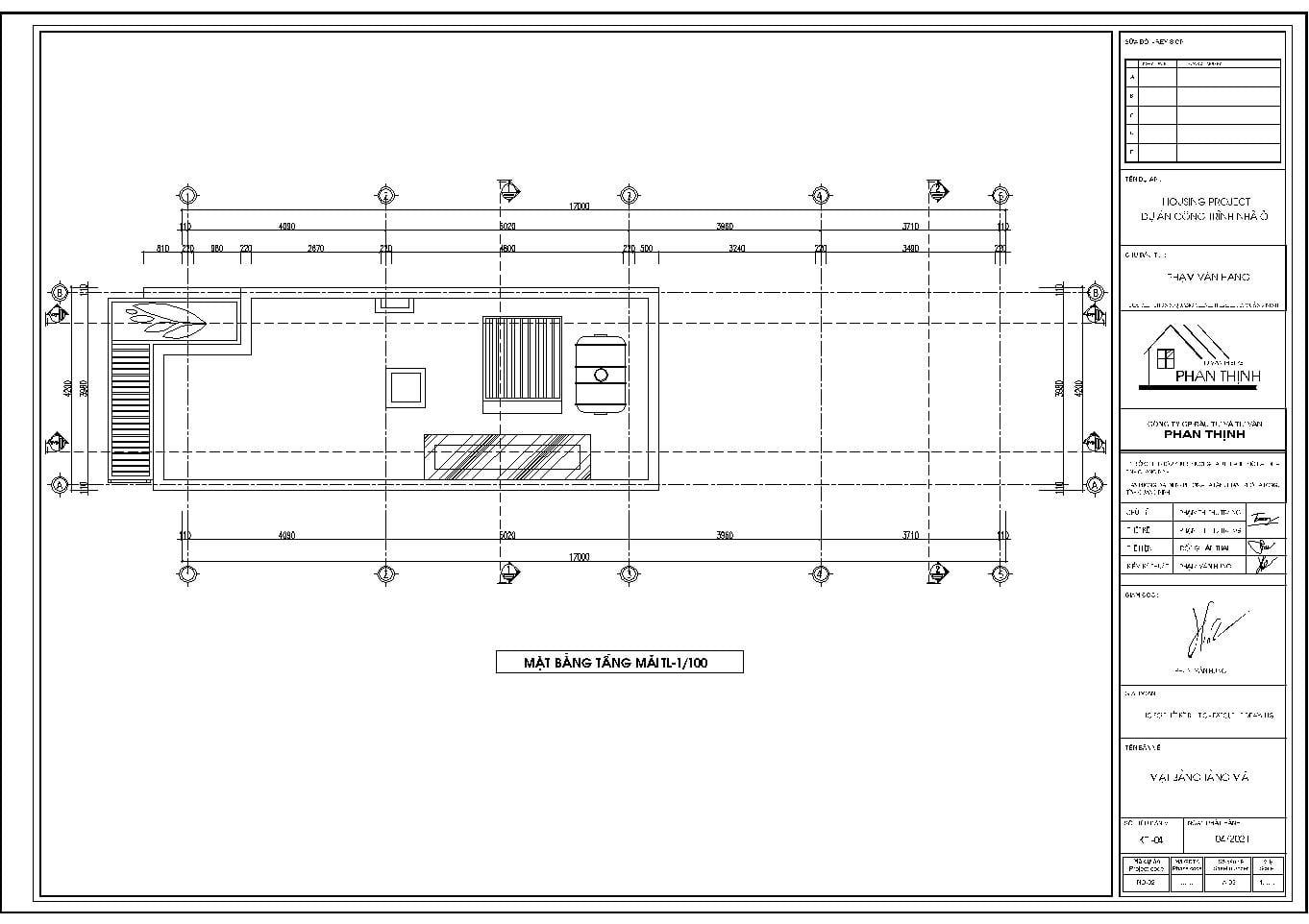 Mặt bằng tầng mái bản vẽ kiến trúc nhà 3 tầng