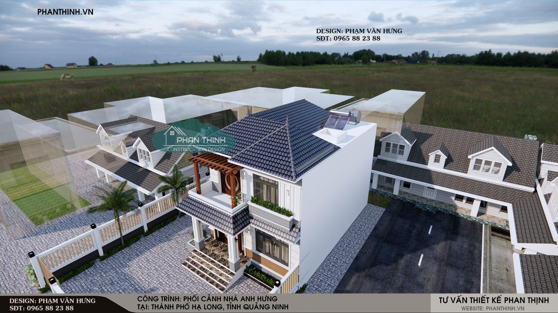 Thiết kế nhà biệt thự 2 tầng mái thái ở Quảng Ninh