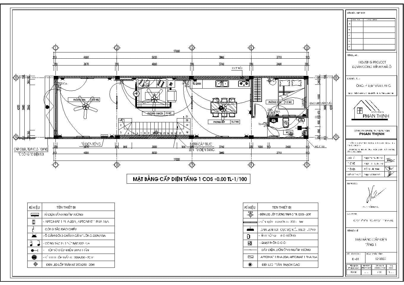 Bản vẽ thiết kế điện tầng 1