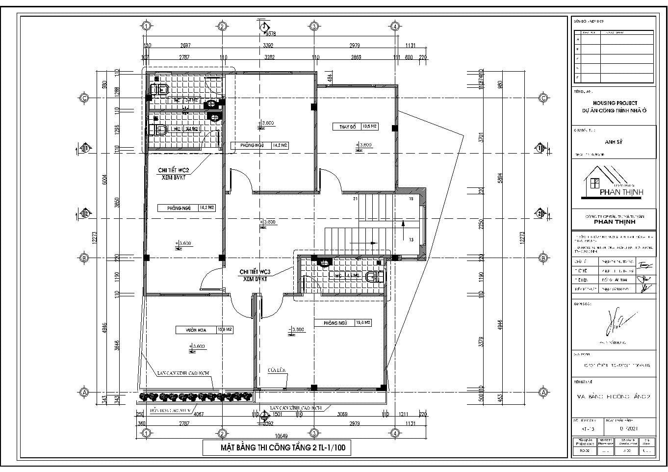 Mặt bằng thi công tầng 2 của ngôi nhà phố 3 tầng