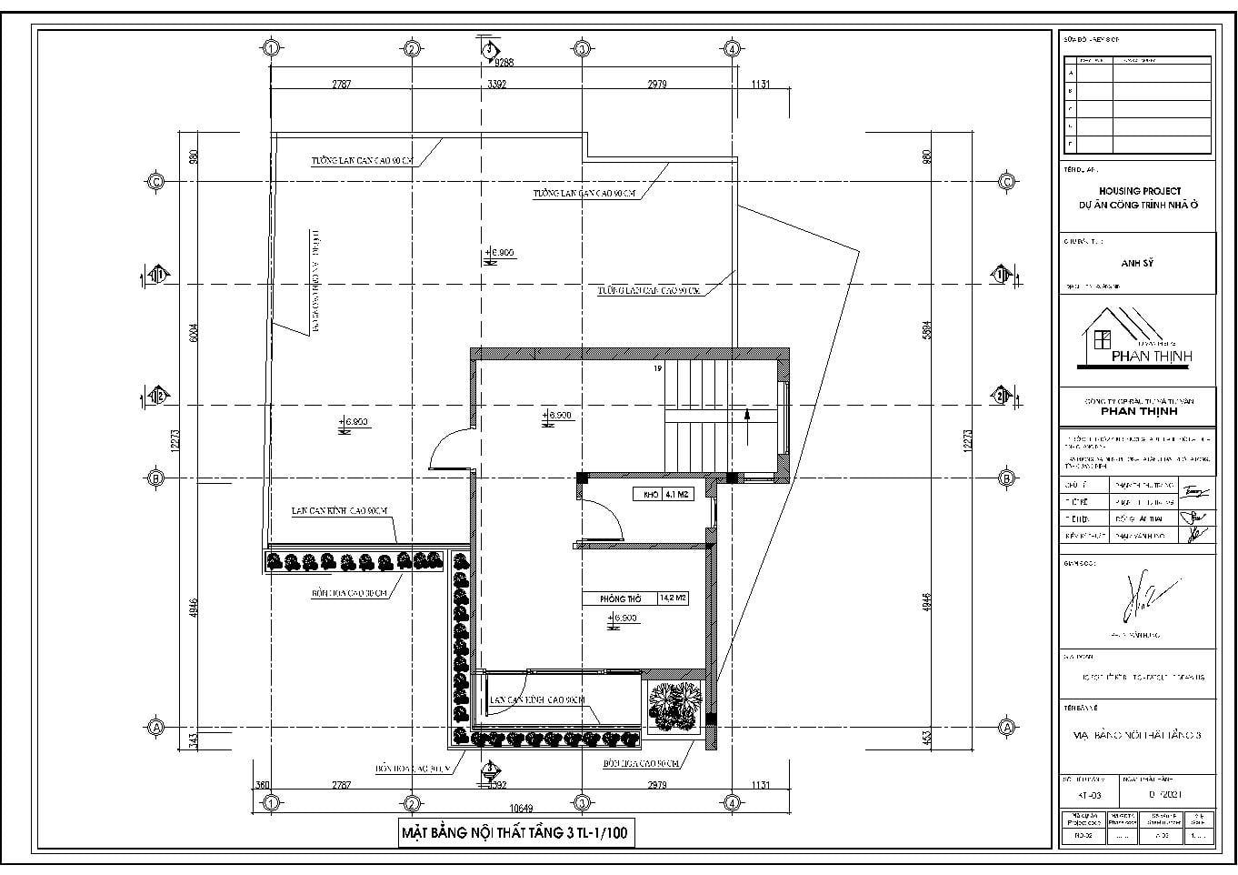Măt bằng nội thất tầng 3 của ngôi nhà