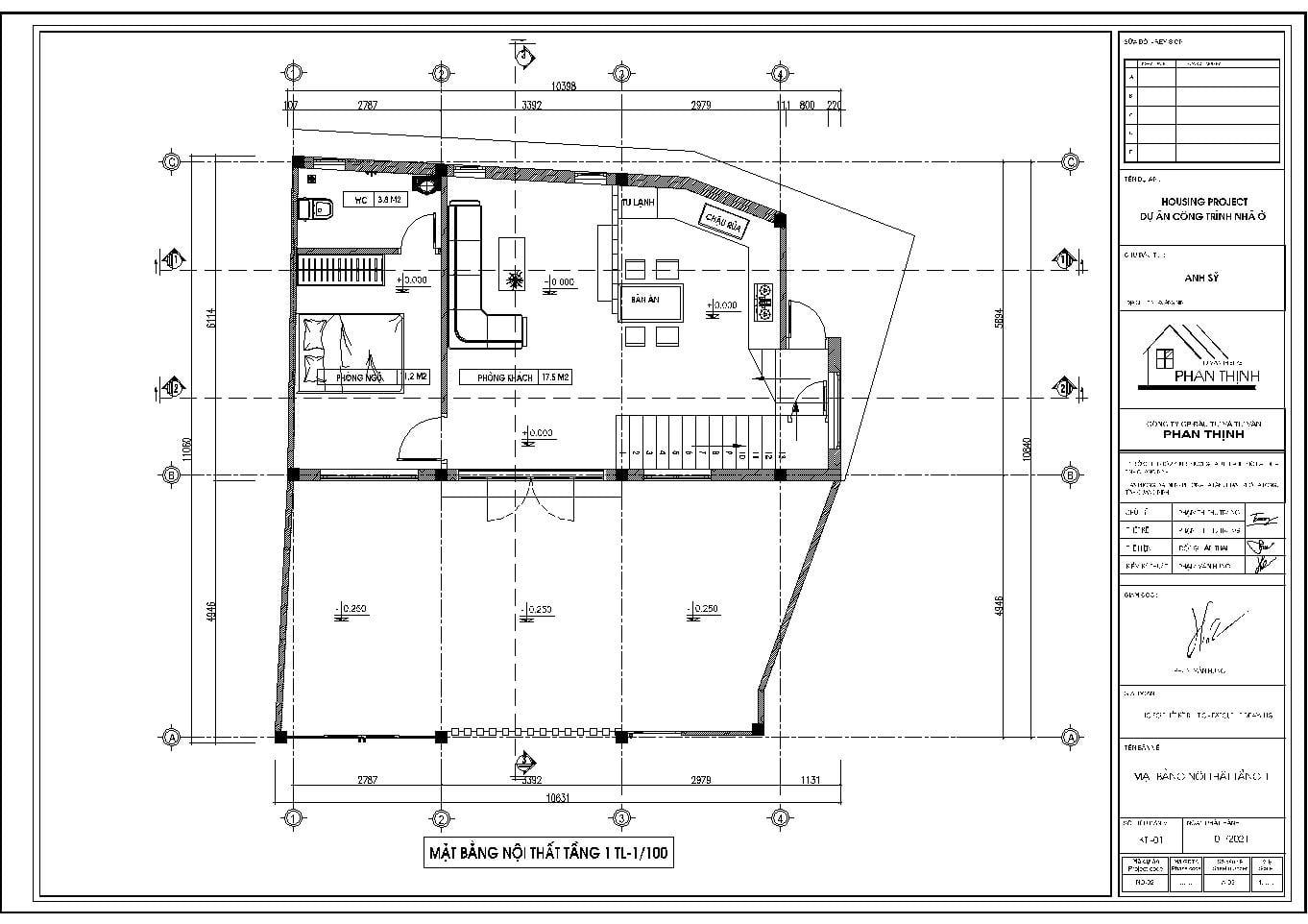 Mặt bằng nội thất tầng 1 của mẫu nhà phố 3 tầng hiện đại