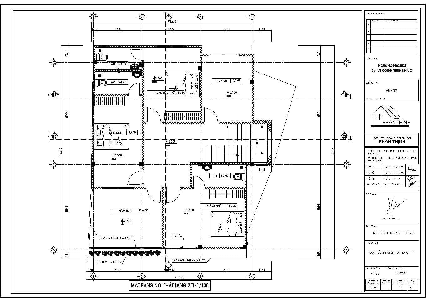 Mặt bằng nội thất tầng 2 của ngôi nhà
