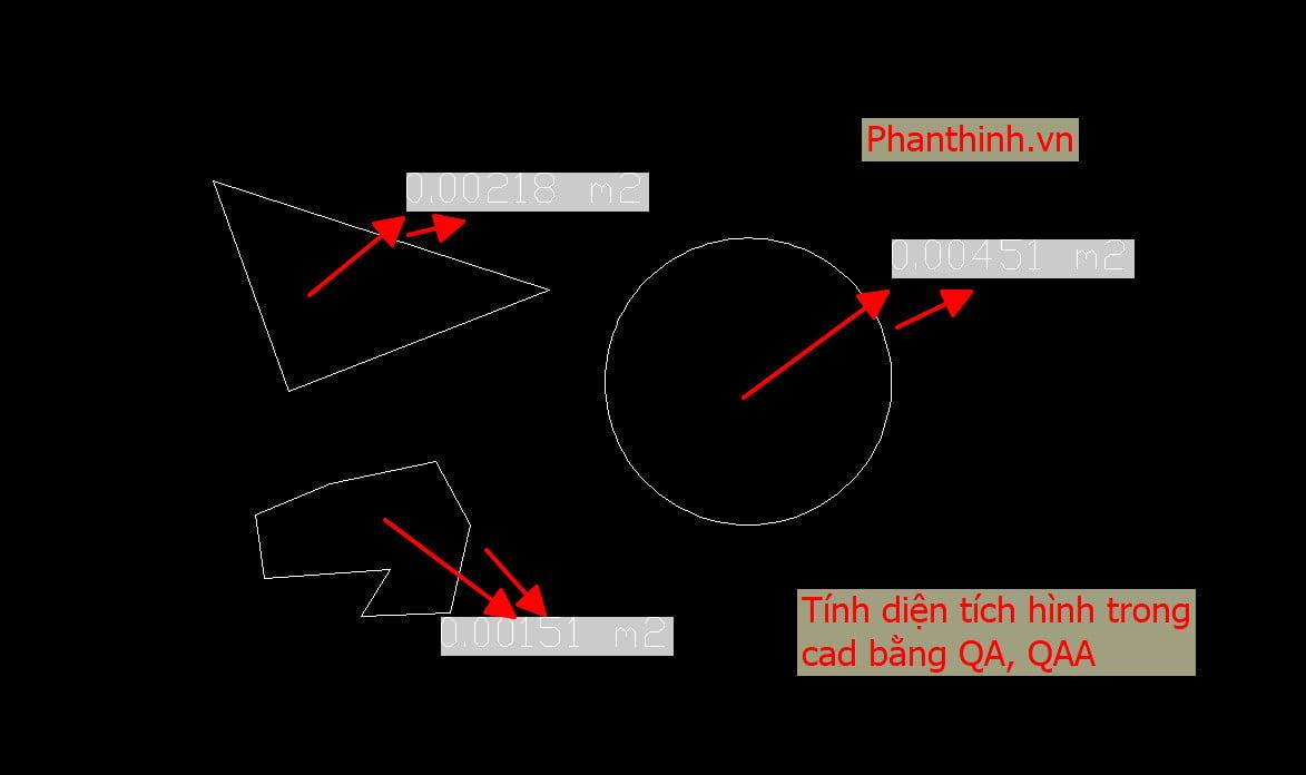 Tính diện tích hình trong cad bằng QA - QAA