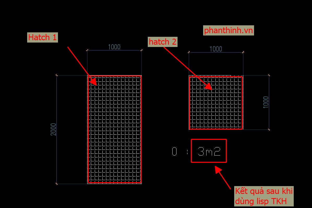 Lisp tính tổng diện tích Hatch TKH