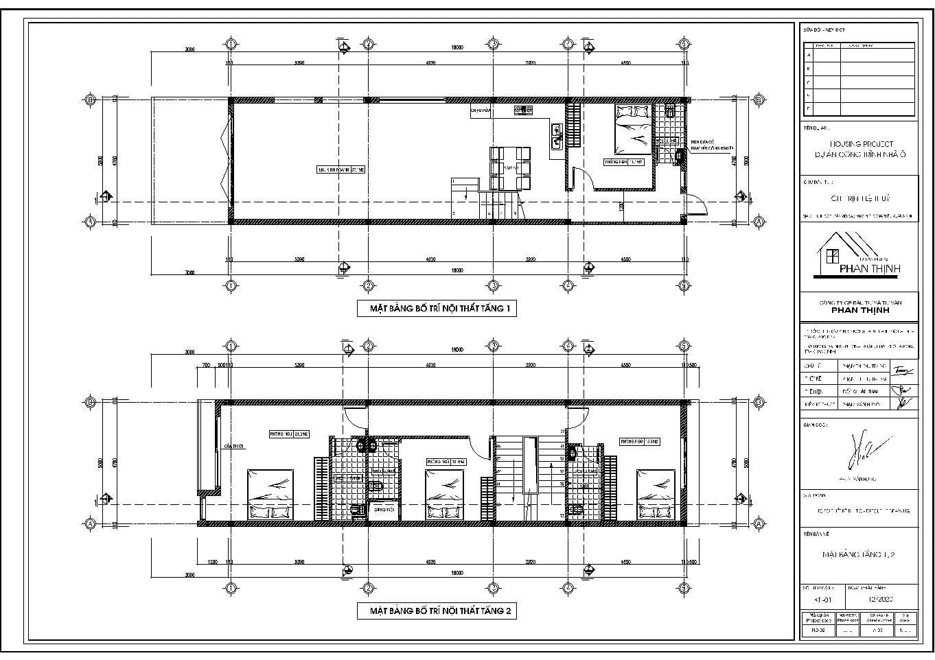 Mặt bằng tầng 1 - tầng 2