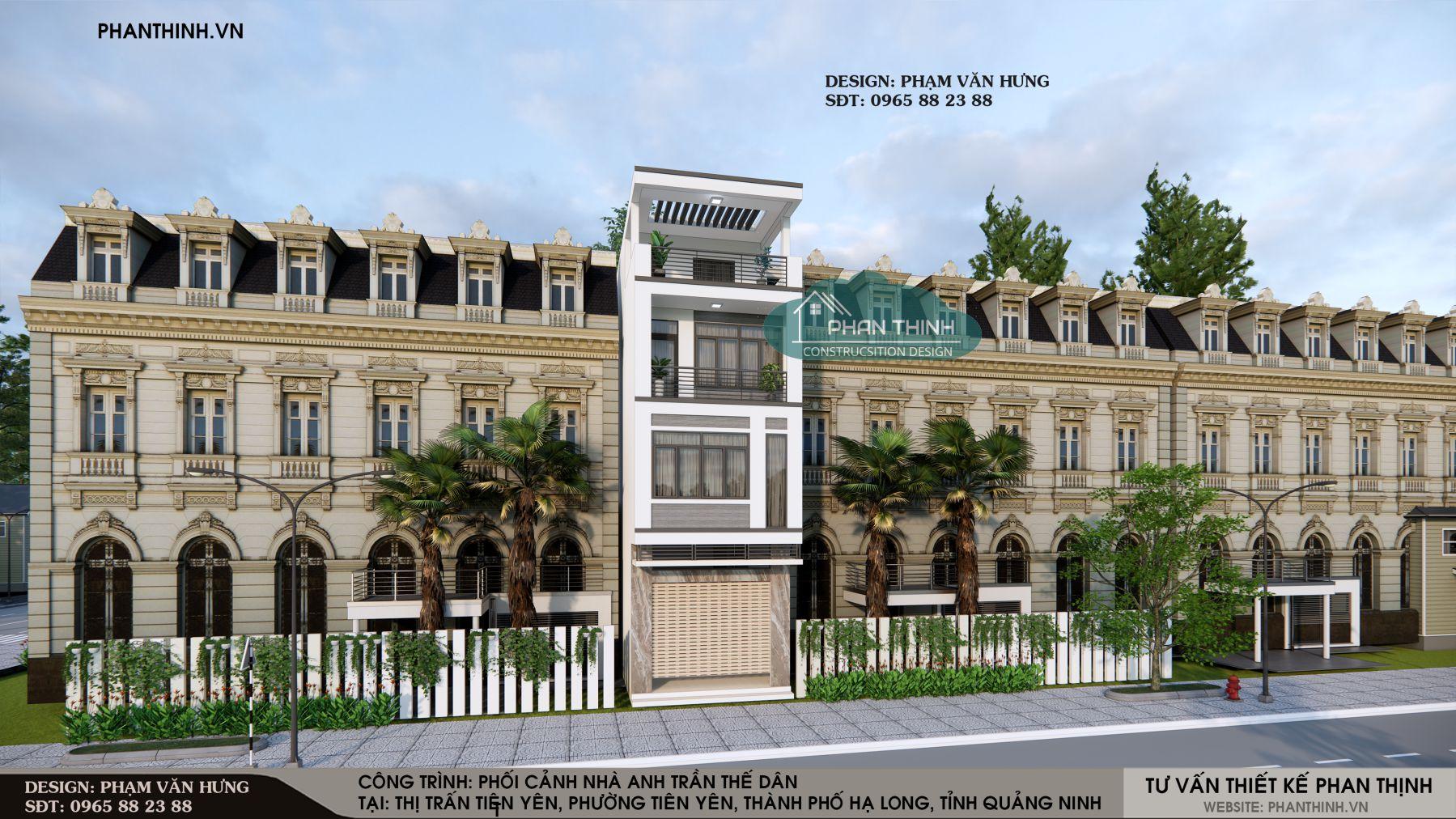 Mẫu nhà phố 3 tầng 1 tum đẹp ở Quảng Ninh