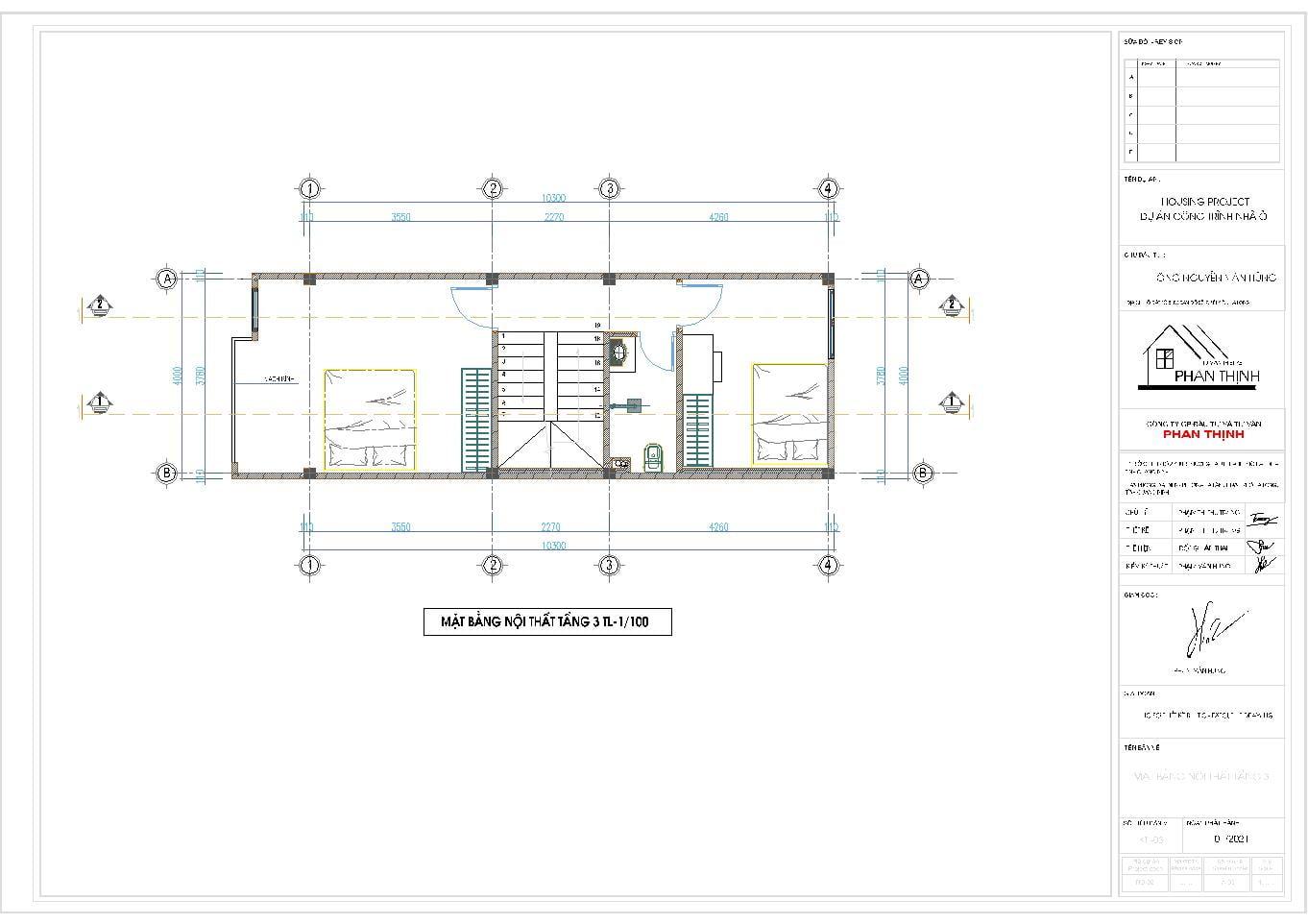 Mặt bằng tầng 3 của ngôi nhà