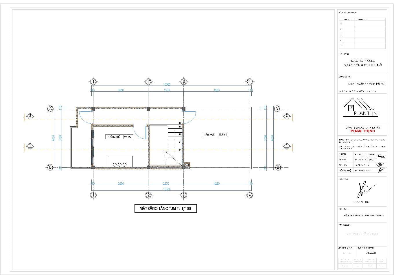 Hình ảnh mặt bằng tầng tum của ngôi nhà