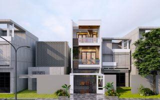Thiết kế nhà đẹp Quảng Ninh, ngôi nhà 3 tầng thị trấn Trới, Hoành Bồ