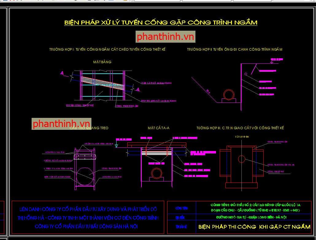 Biện pháp xử lý tuyến cống gặp công trình ngầm
