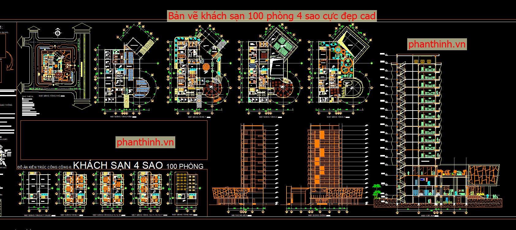 Bản vẽ khách sạn 100 phòng 4 sao cực đẹp - File cad resort