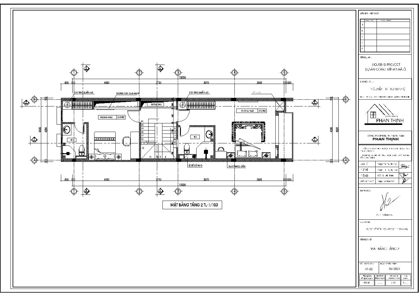 Hình ảnh mặt bằng tầng 2 của ngôi nhà ống 3 tầng