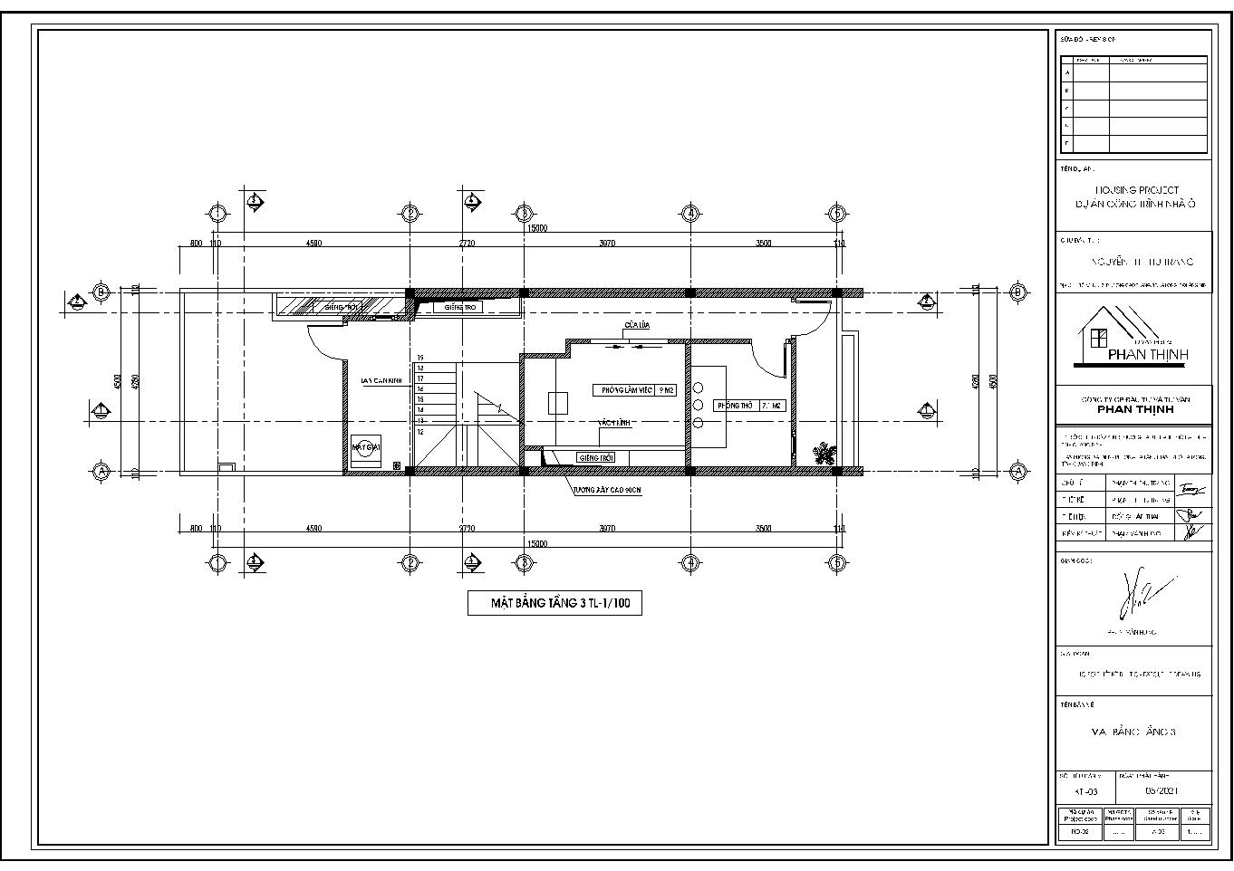 Hình ảnh mặt bằng tầng 3 của ngôi nhà