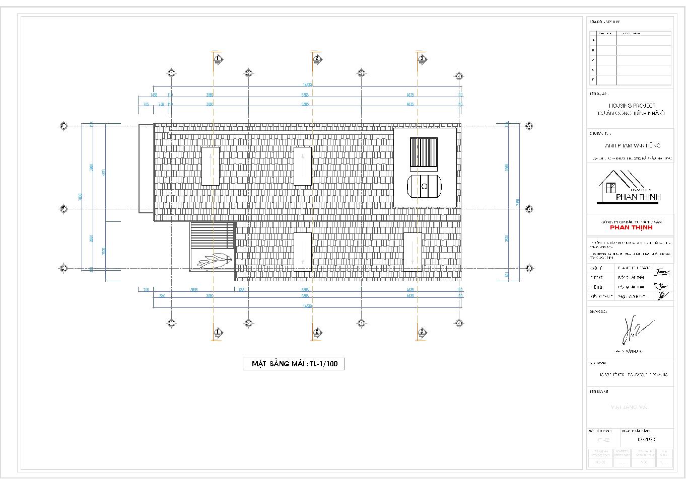 Hình ảnh mặt bằng phần mái của ngôi nhà