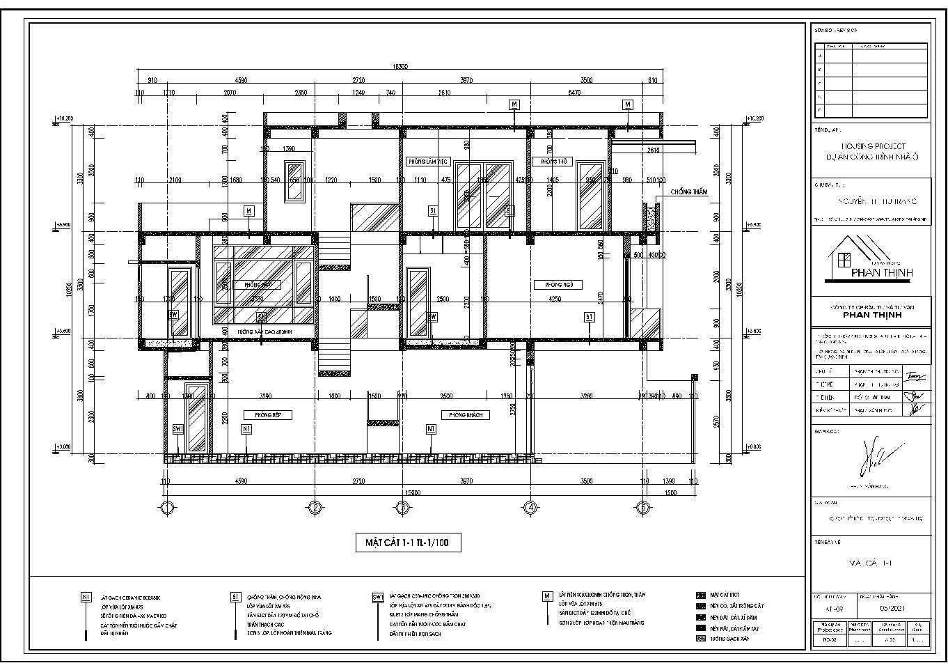 Mặt cắt 1-1 của ngôi nhà ống 3 tầng
