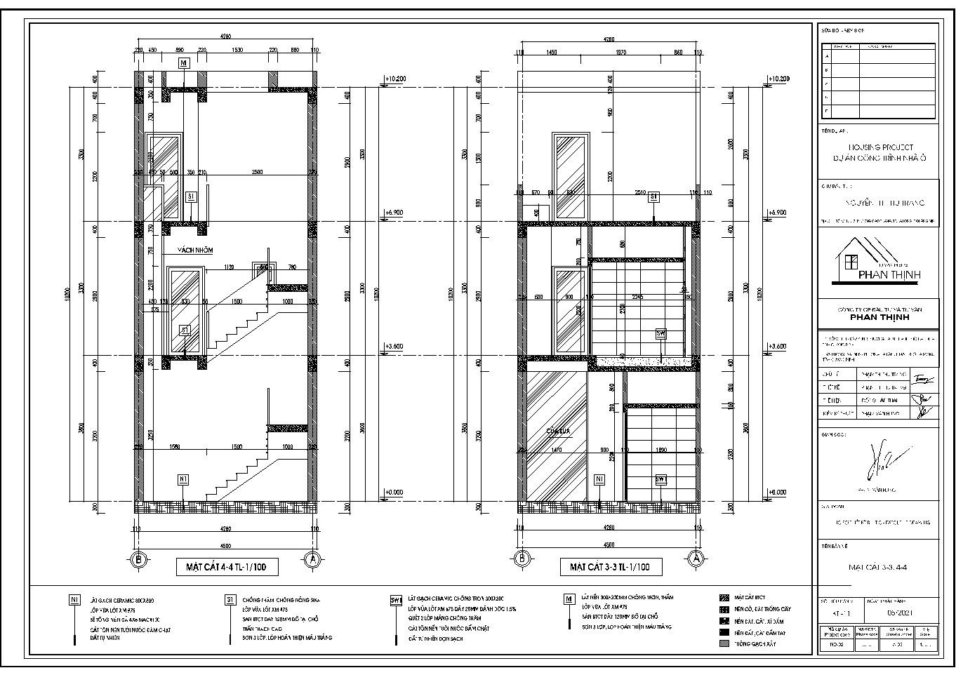 Hình ảnh mặt cắt 3 và 4 của ngôi nhà hiện đại này