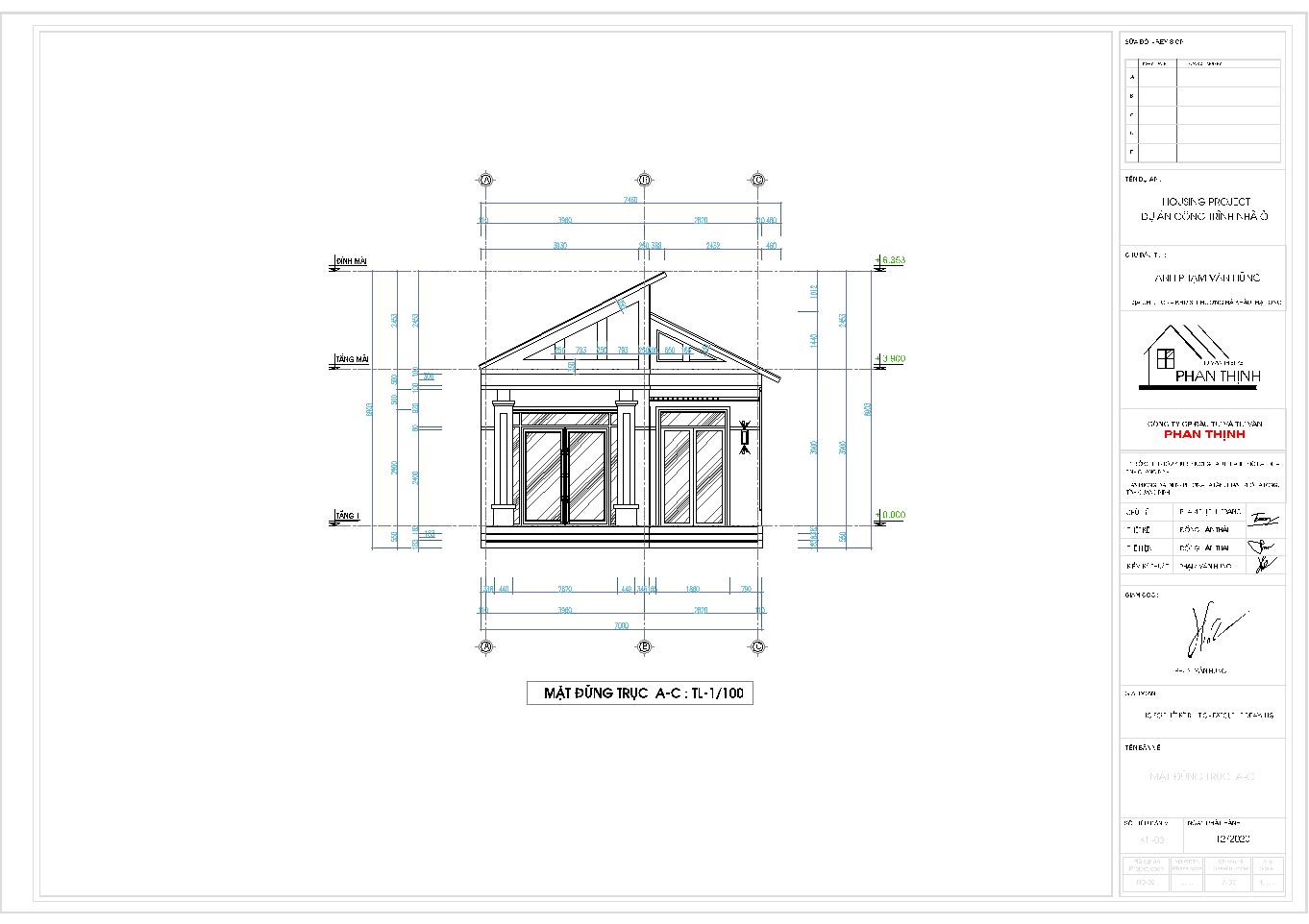 Mặt đứng trục A-C của ngôi nhà