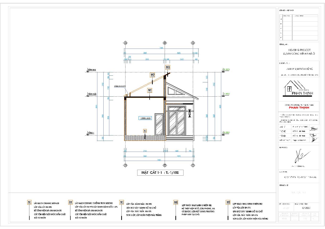 Mặt cắt 1 của ngôi nhà mái thái 1 tầng