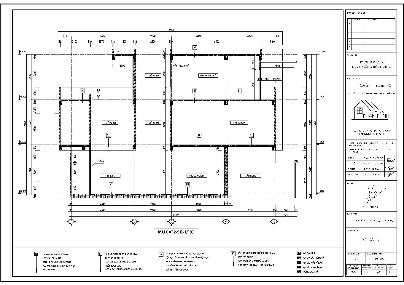 Mặt cắt 2 của ngôi nhà mái thái 1 tầng