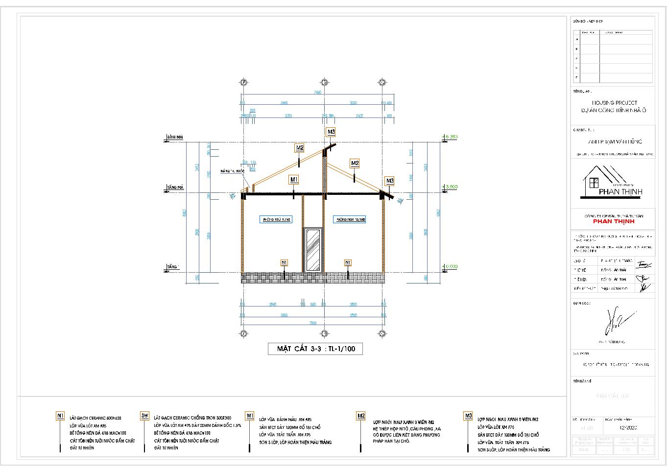 Mặt cắt 3 của ngôi nhà mái thái 1 tầng
