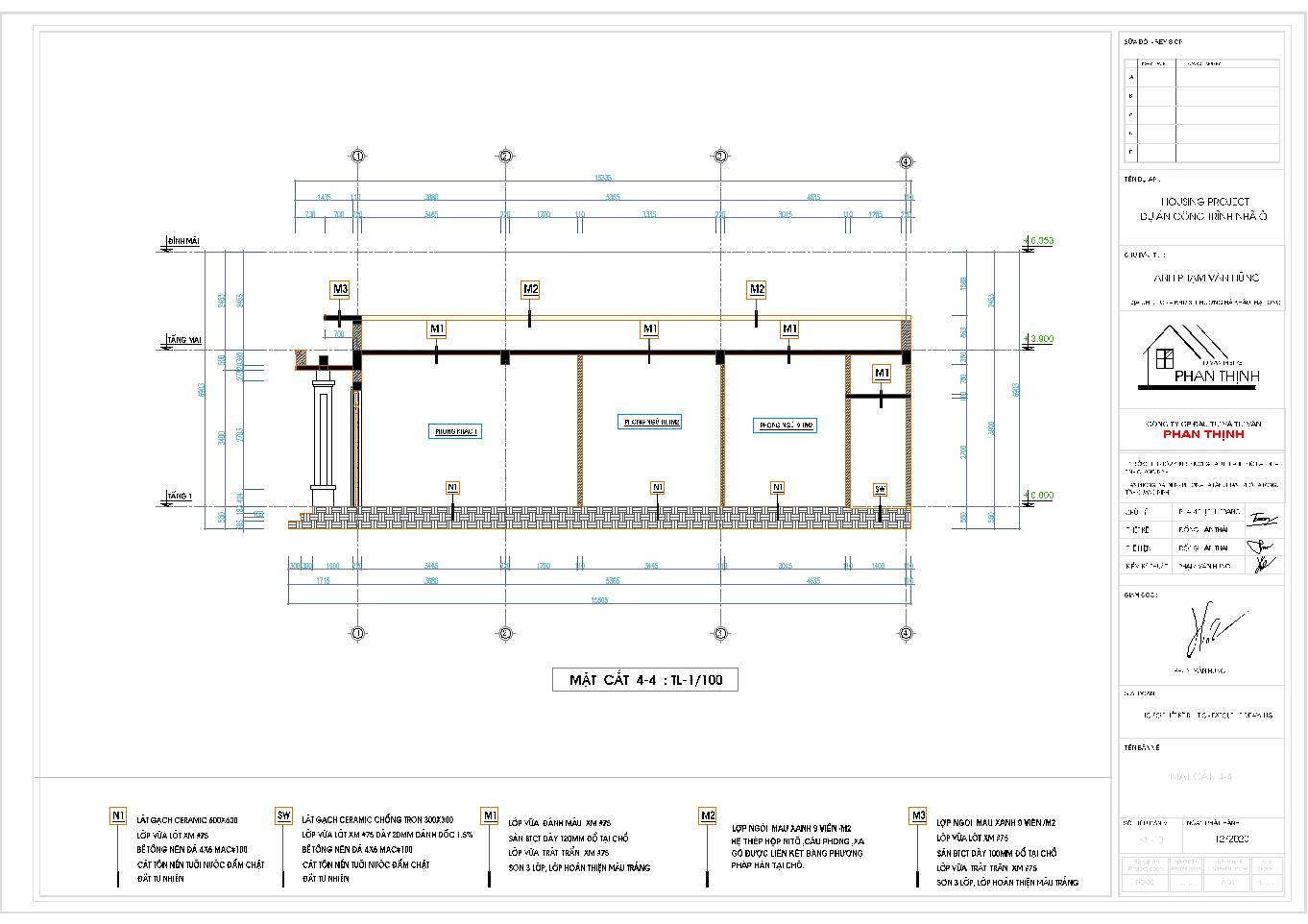 Mặt cắt 4 của ngôi nhà mái thái 1 tầng