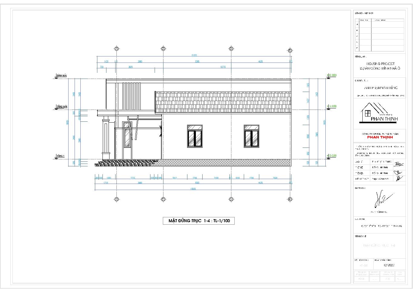 Mặt đứng trục 1-4 của ngôi nhà