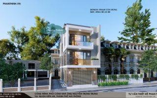Thiết kế nhà ở Hải Phòng, mẫu nhà ống 3 tầng đẹp 6,2x15m tại Kiến An