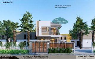 Thiết kế nhà đẹp ở Hải Phòng, ngôi nhà phố 2 tầng đẹp rộng 7,5m x 10m