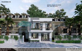 Thiết kế nhà ở Hải Dương, mẫu nhà phố 2 tầng mặt tiền 8m ở Ninh Giang