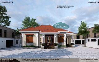 Thiết kế nhà đẹp ở Hải Dương, ngôi nhà mái thái 1 tầng đẹp tại Kinh Môn