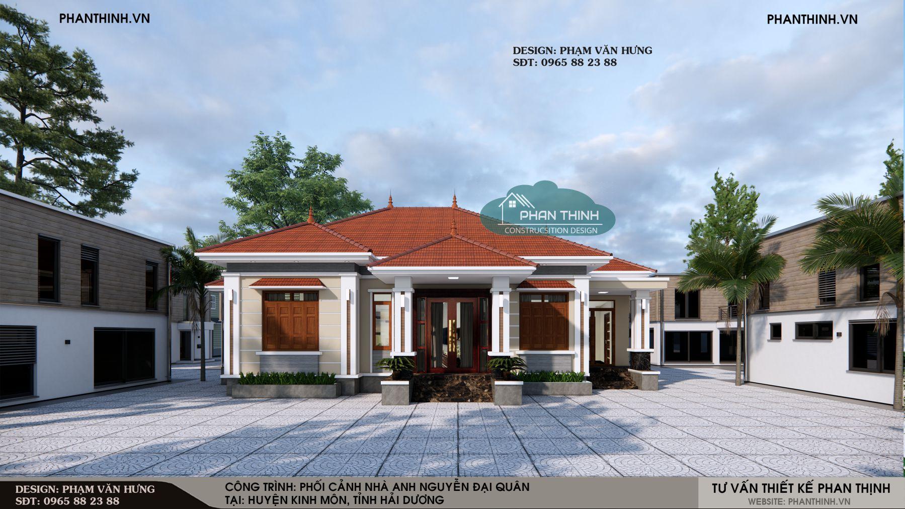 Thiết kế mặt tiền mẫu nhà thái đẹp 1 tầng ở Hải Dương