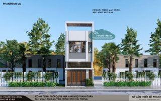 Thiết kế nhà Hải Phòng, mẫu thiết kế nhà đẹp 2 tầng mặt tiền 4,5m