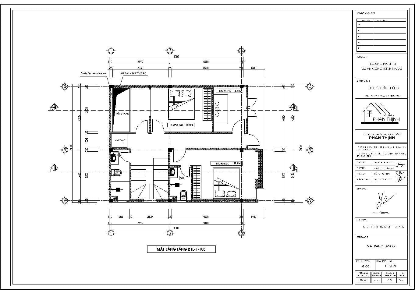 Mặt bằng thiết kế tại tầng 2