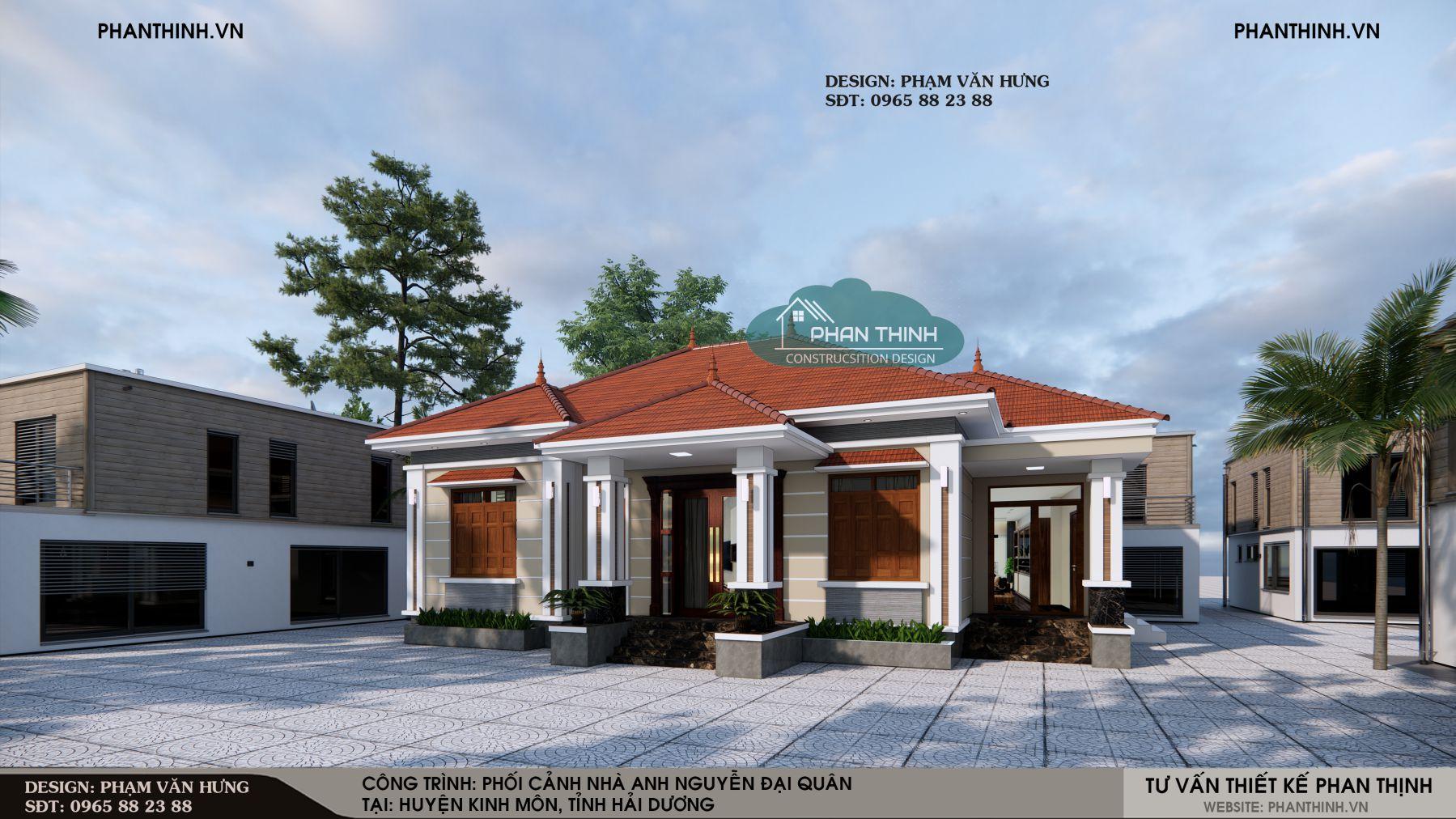 Hình ảnh mặt tiền mẫu nhà một tầng mái thái, thiết kế nhà đẹp ở Hải Dương
