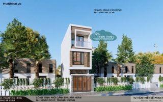 Thiết kế nhà tại Hải Dương, mẫu nhà ống 3 tầng hiện đại mặt tiền 3,7m