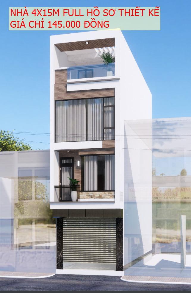 Bán bản vẽ hồ sơ thiết kế nhà 4 tầng 4x15m đẹp.
