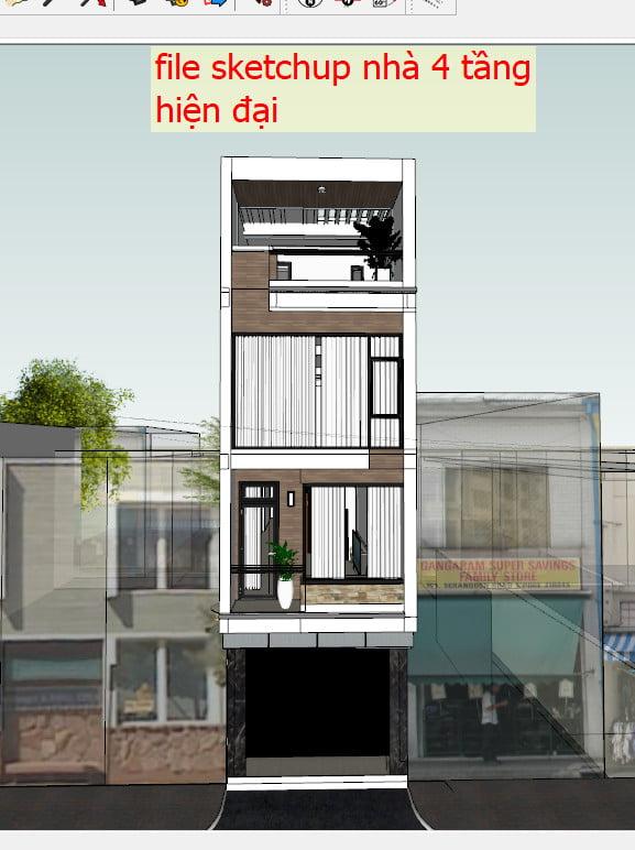 File sketchup nhà 4 tầng hiện đại 4x15m
