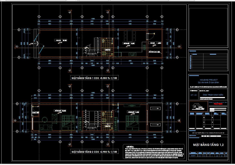Full thiết kế cad nhà 4 tầng đẹp