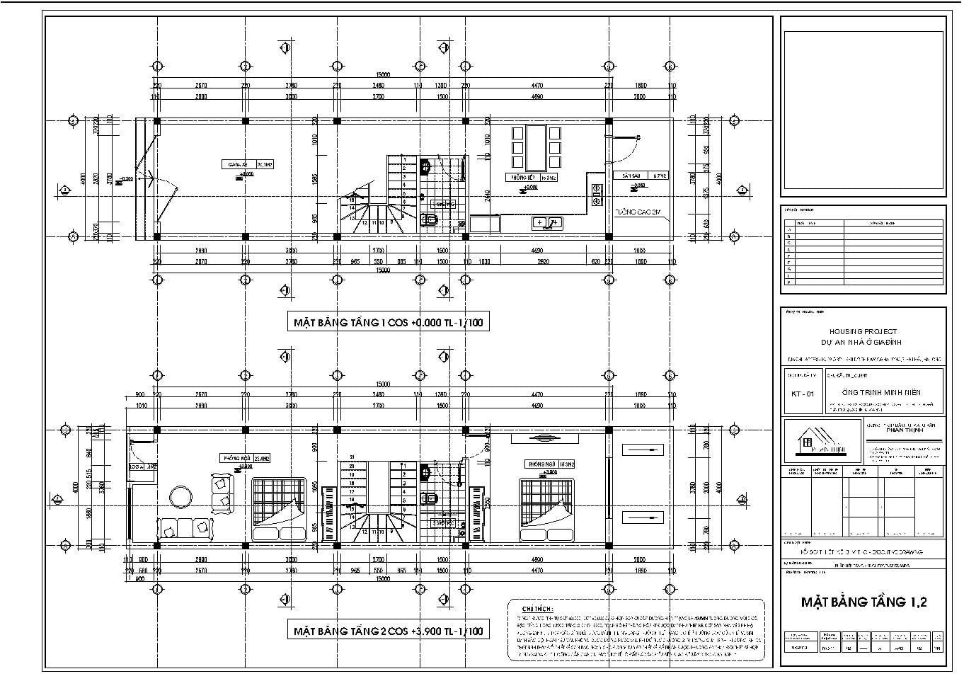 Mặt bằng thiết kế tại tầng 1 và tầng 2