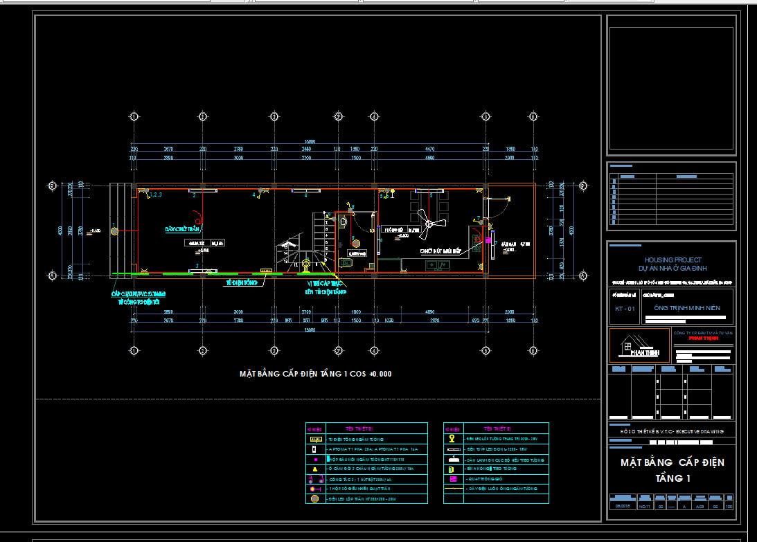 Thiết kế điện nước ngôi nhà autocad